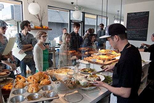 A line at Forage, a Los Angeles eatery that focuses on food made with local ingredients. Courtesy Forage
