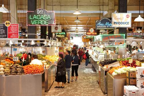 The crowds at the Grand Central Market in downtown Los Angeles, California.