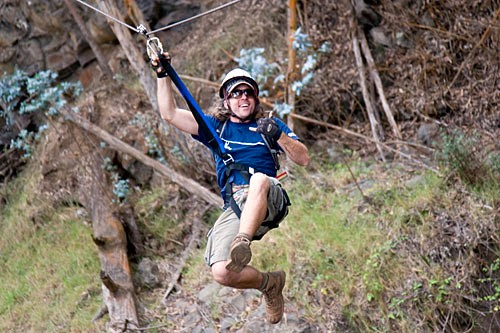 Tear through Haleakala's treetops at 10 to 35 miles per hour on a zip-line tour with Skyline Eco-Adventures.