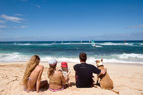Sunbathers can either challenge or simply admire Hookipa Beach's pounding surf, which is perfect for watersports.