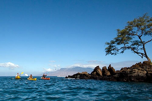Makena Kayak Tours specialize in teaching first-timers and take you off the coastline of Wailea in waters brimming with tropical fish.