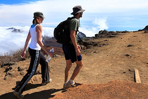 Hikers can climb 11 miles into a dormant volcano on Maui's Sliding Sands Trail in Haleakala National Park.