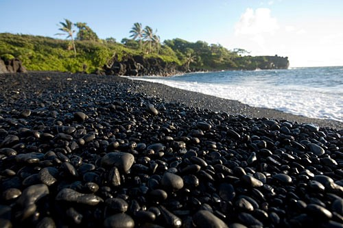 Waianapanapa State Park's stunning and remote black-sand beach