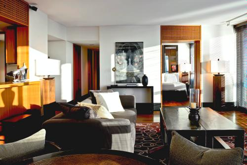 Living room of two-bedroom oceanview suite at The Setai, Miami.