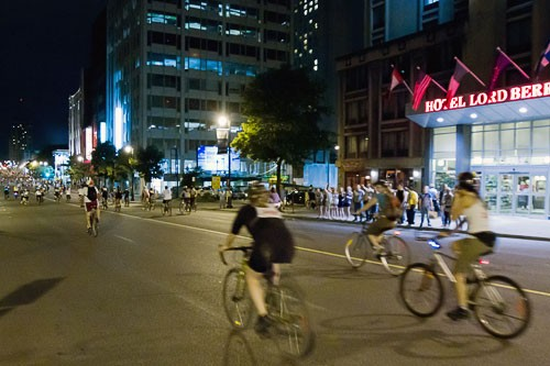 Riders taking part in the Tour La Nuit Montreal Bike Fest in 2010.