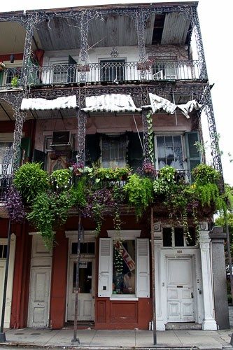 Teetering residential/commercial house in New Orleans' French Quarter.