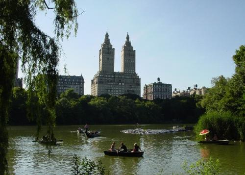 A view of Central Park Lake.