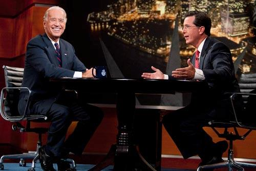 "Vice President Joe Biden with Stephen Colbert on ""The Colbert Report."" Photo by: Scott Gries (PictureGroup)"