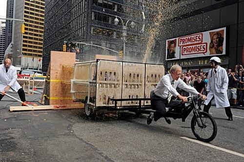"David Letterman drives a Mentos-and-Coca Cola-powered rocket car down 53rd Street, on ""Late Show with David Letterman."" Photo: Jeffrey R. Staab/CBS"