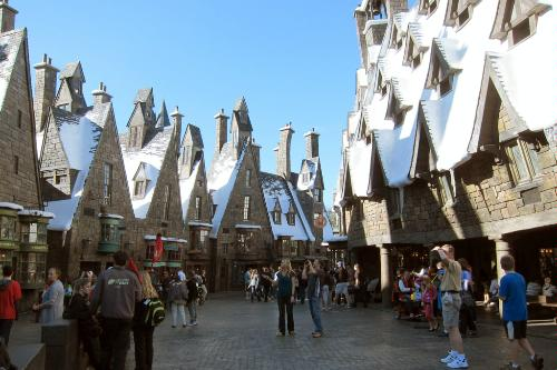 Hogsmeade Village at the Wizarding World of Harry Potter at Universal's Islands of Adventure in Orlando, Florida.