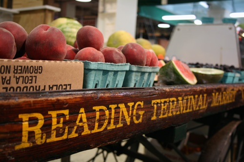 Amish fruit stand atop a wagon base at the Reading Terminal Market in Philadelphia.