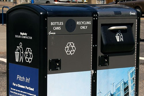 Solar-powered trash compactors in one of America's rainiest cities.
