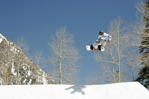 Snowboarding at the Snowbird Ski and Summer Resort in Little Cottonwood Canyon, Utah.