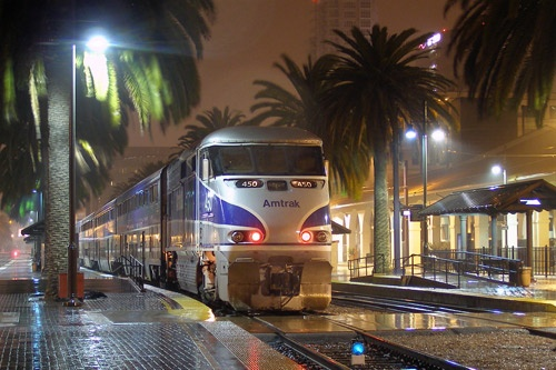 Amtrak's Pacific Surfliner train at San Diego Station. Photo: Courtesy of Amtrak