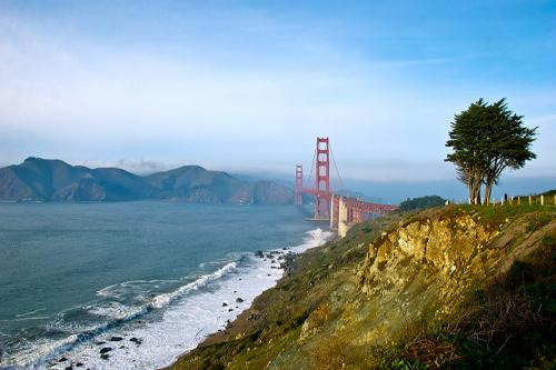 A view of the Golden Gate Bridge in San Francisco, California.