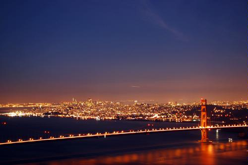 The Golden Gate Bridge at night in San Francisco, California.