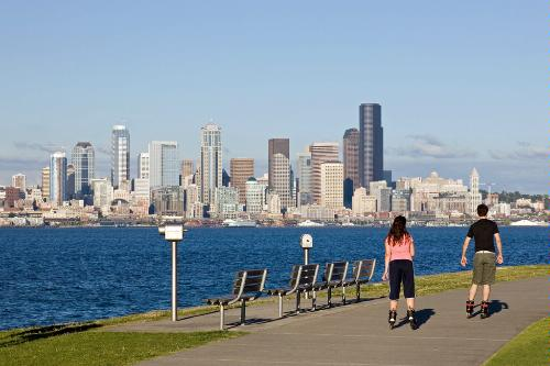 Rollerblading along Alki Beach in Seattle