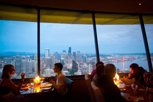 The SkyCity restaurant on top of the Space Needle in Seattle