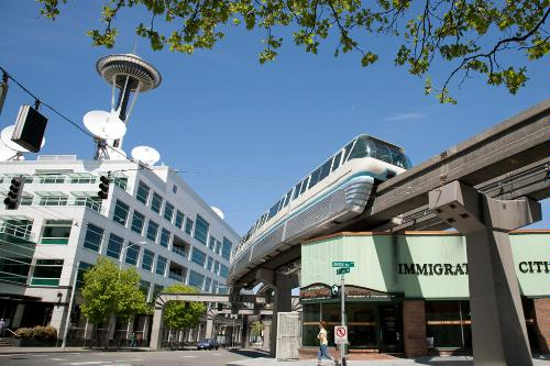 Seattle's monorail runs past the Space Needle.