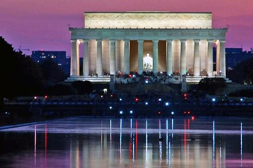The Lincoln Memorial at dusk.