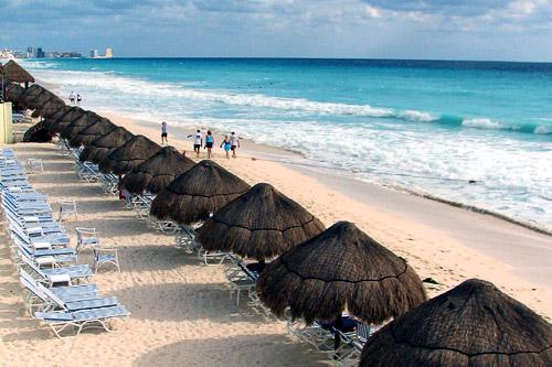 The beach in Cancun.
