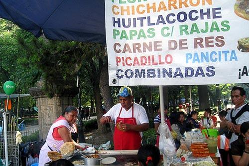 Food stands in Mexico City's Centro Histórico