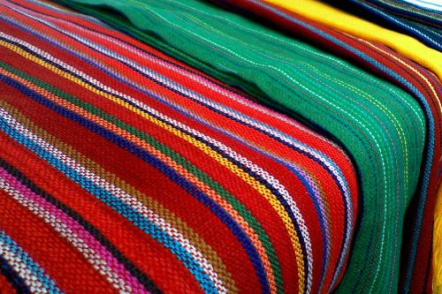 Traditional Mexican blankets for sale at San Angel market in Mexico City.