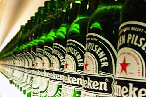Rows of Heineken bottles lined up in the factory in Amsterdam.