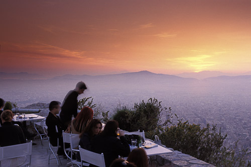 Lounging in cafe atop Lycabettus Hill, Athens