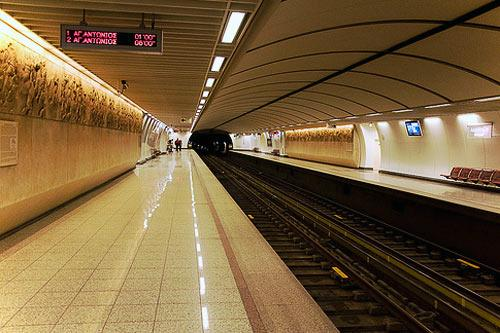 The Akropoli subway station in Athens.