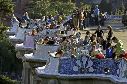 Mosaic benches in the Parc Guell