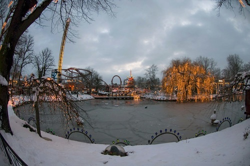 The Tivoli Lake at Christmas time in Tivoli Gardens, Copenhagen.