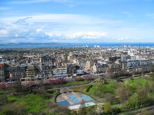 A scenic view of the city from Edinburgh Castle in early May.