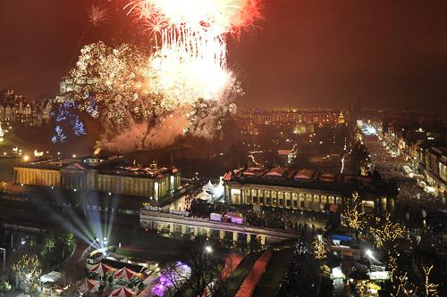 View of Edinburgh's Hogmanay celebration