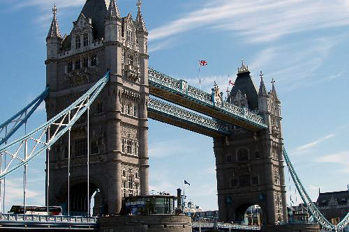 Tower Bridge is a bascule bridge in London, England over the River Thames