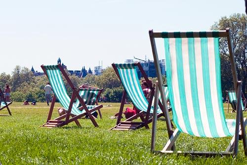 The classic green-and-white striped chairs in London's Hyde Park.