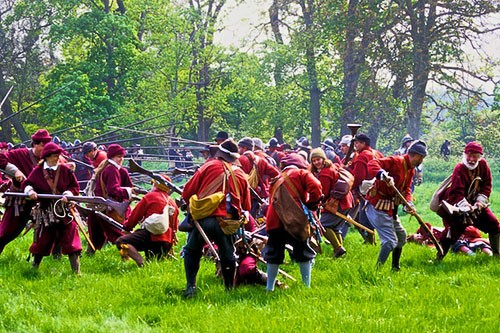 Every summer history buffs get together in locations all over England -- in this case at Mapledurham House beside the River Thames -- to re-enact scenes from the country's 17th-century civil war.