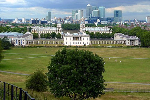 The Queen's House, Greenwich as seen from the Old Royal Observatory on Greenwich Hill.
