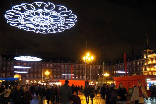 Crowds gather in Madrid's Plaza Mayor for the city's largest holiday market.