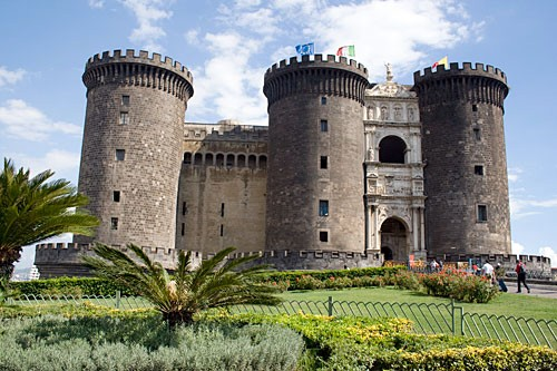 The incongruous triumphal arch was squeezed in between the 13th-century turrets of the Castel Nuovo in the mid-1400s.