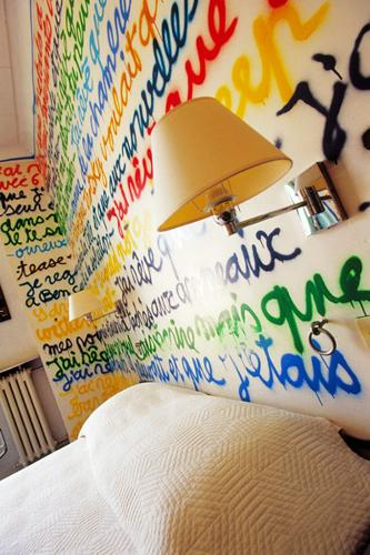 The Ben Room at the Hôtel Windsor in Nice, France is covered with colorful graffiti.