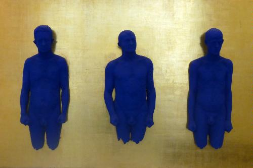 Yves Klein's Portrait relief de Claude Pascal, Arman et Martial Raysse at Musée d'Art Moderne et d'Art Contemporain in Nice, France.
