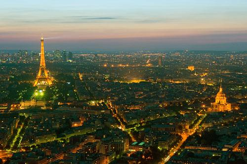 The Eiffel Tower at dusk.