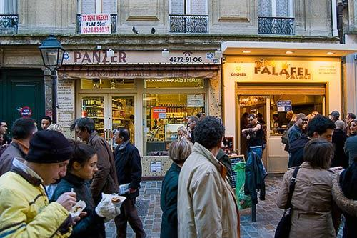 Falafel stands line Rue de Rosiers in Paris.