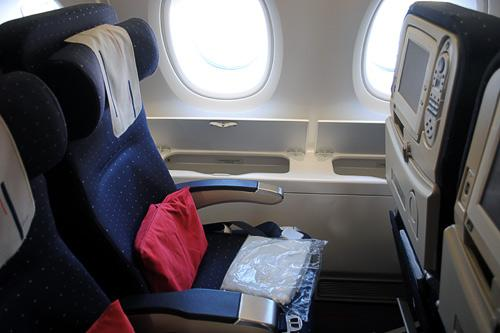 An economy-class seat aboard an Air France A380 flight from New York's JFK to Charles de Gaulle airport in Paris.