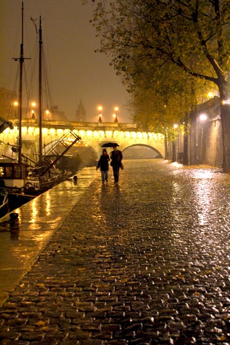 A couple walks in the rain along the River Seine, Paris.