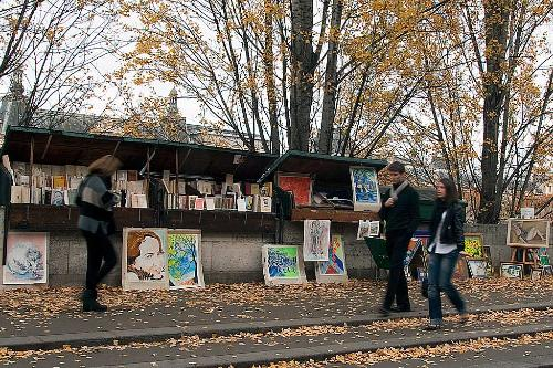 Book sellers along the Seine in Paris, France.