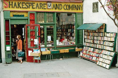 Exterior of Paris's English-language Shakespeare and Company bookstore, a magnet for literary expats