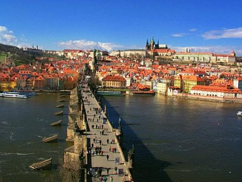 Shot of Charles Bridge, the Vlatava River, and Prague Castle, Prague, Czech Republic