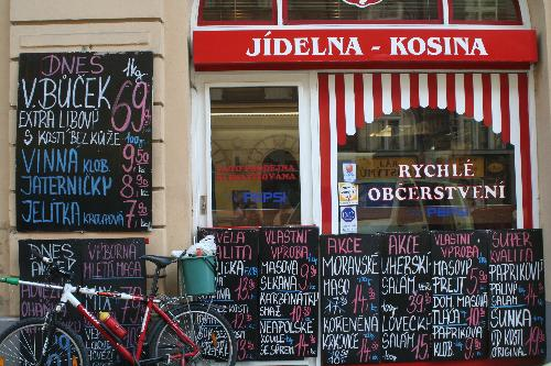 Colorful exterior of a shop in Prague